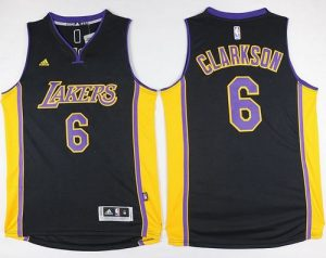 Lakers #6 Jordan Clarkson Black(Purple NO.) Stitched NBA Jersey